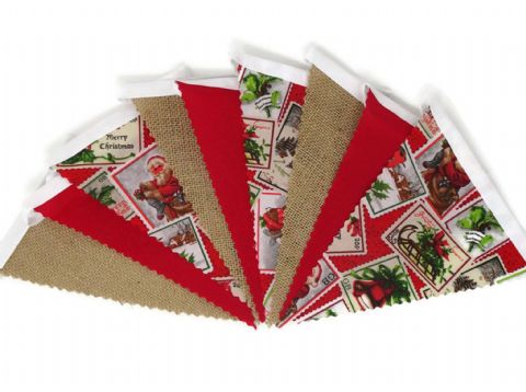 CHRISTMAS BUNTING  Stamps, Hessian & Plain Red on White Tape  - 3m - 14 flags (single-sided)